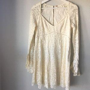 Free People Ivory Blue Skies Babydoll Lace Dress